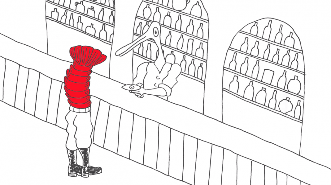 A man with a bird's head behind a bar facing a man with a lobster tail for a body