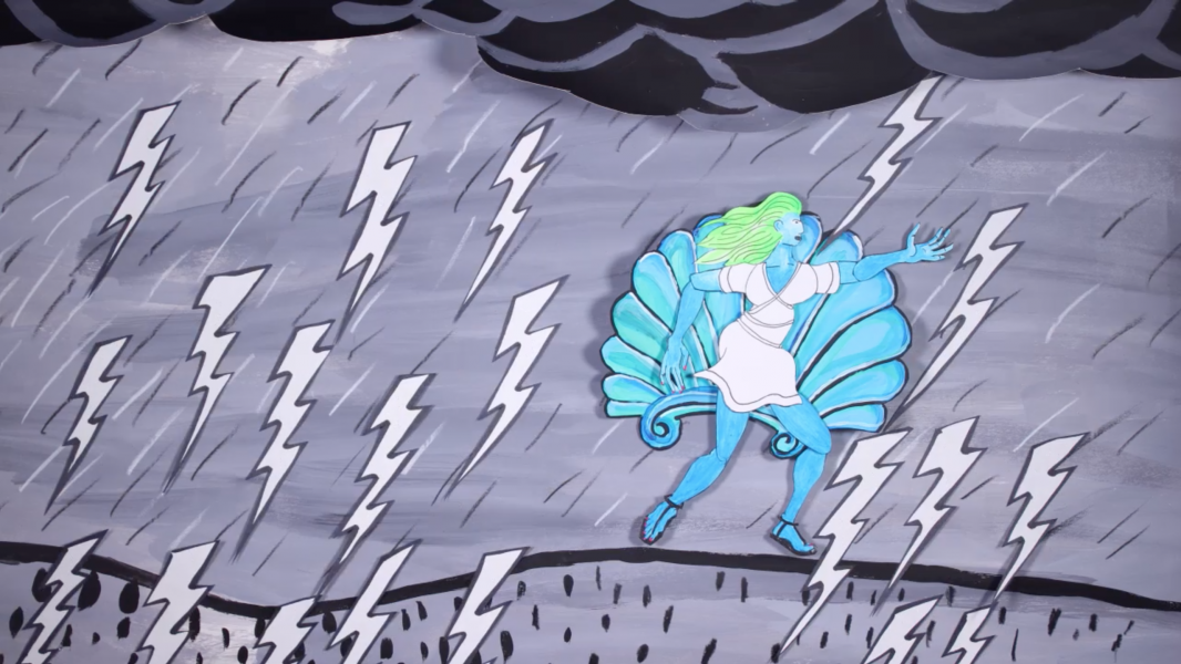 A scene from the film showing a woman on a sea shell avoiding lightning strikes.