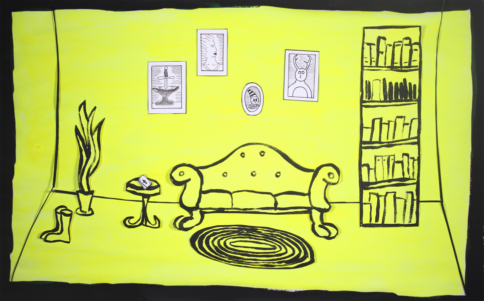 Scene from film: An all yellow sitting room.