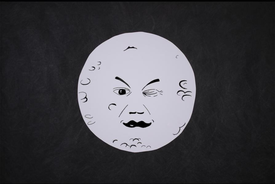 A drawing of the Moon winking at you
