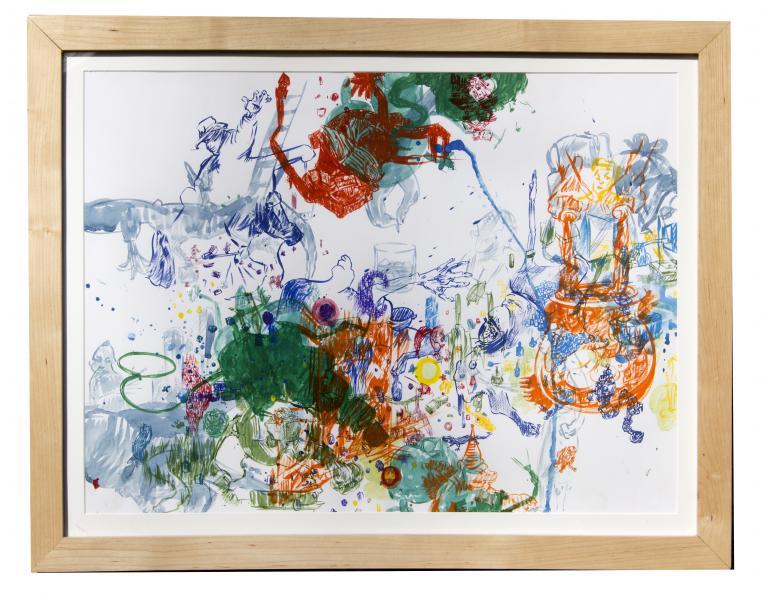 "Lasso, gouache on paper, 17"" X 24"", 2015"