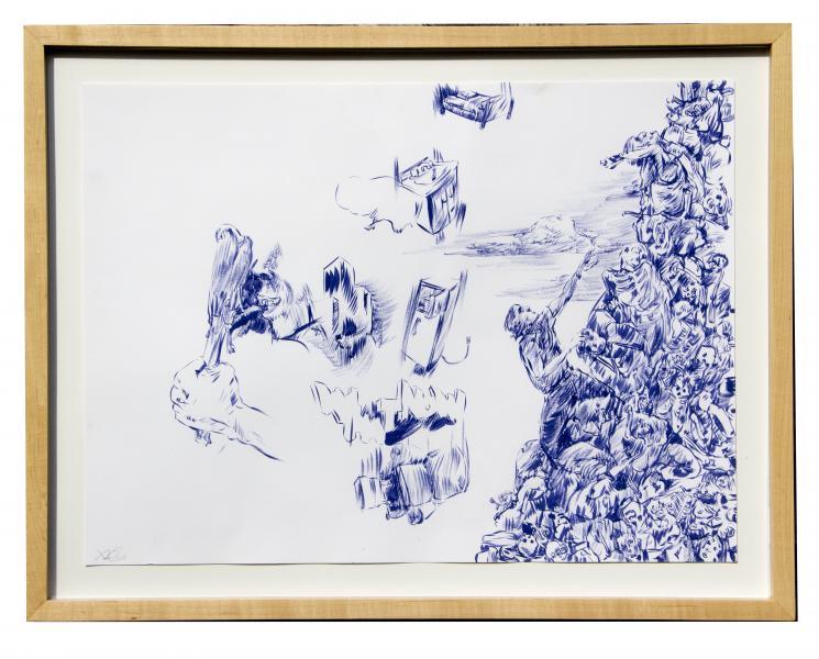 "Hunger, gouache on paper, 17"" X 24"" , 2015"
