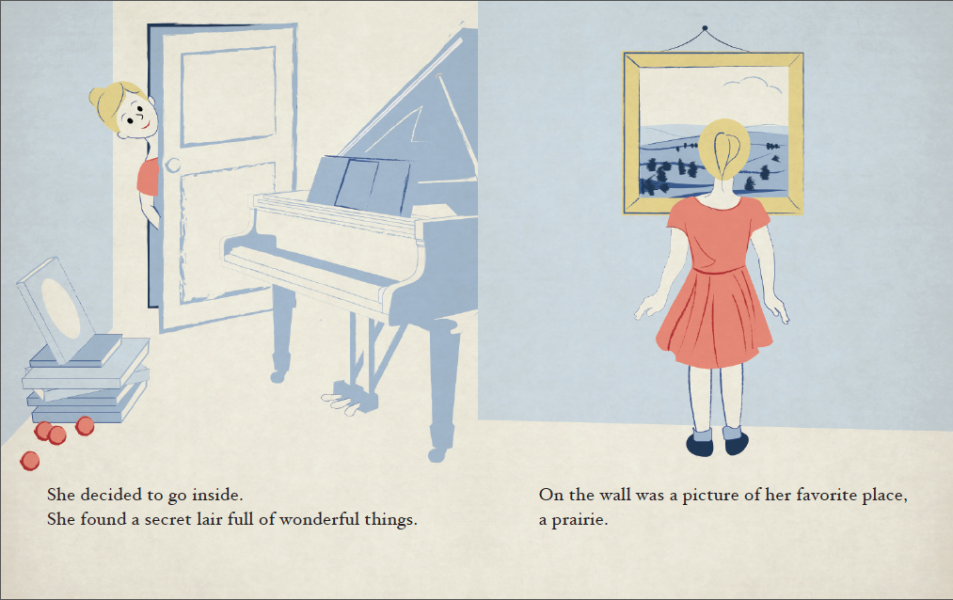 """A spread from the children's book The Secret Room, which was given to Rick by his priest at the beginning of the performance. Rick read the book to his daughter, but would later find himself in his own """"secret room"""" and would visit the same prairie shown"""