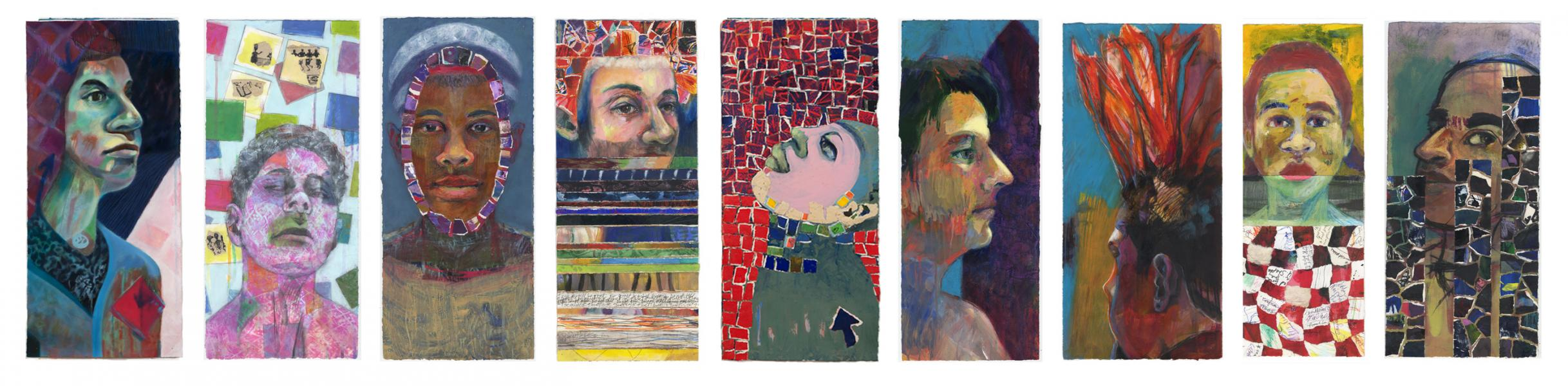 portraits spark conversations, mixed media portraits, real people, paintings, conversations create portraits
