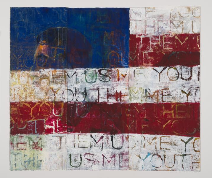 untitled flag, mixed media, citizenship, American, painting, stamps