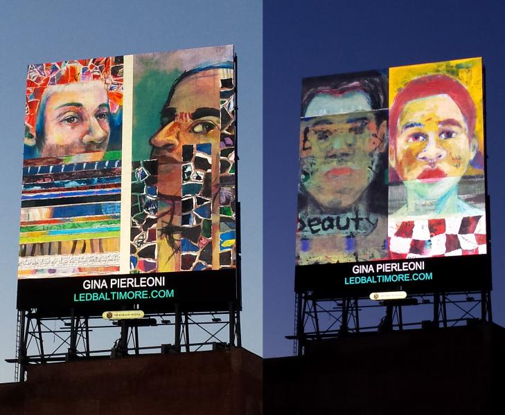 portraits, mixed media, LED Board, Baltimore, public art, street art, Gina Pierleoni