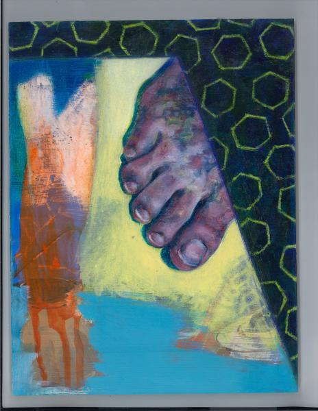 feet, reflected foot, reflection, oil painting, acrylic, painting, feet, aging, significant step, life, feet, foot