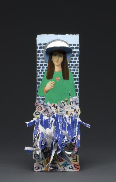 modern, Mary, statues, installation, my father, funeral cards, death, holy, shelves, painting, collage
