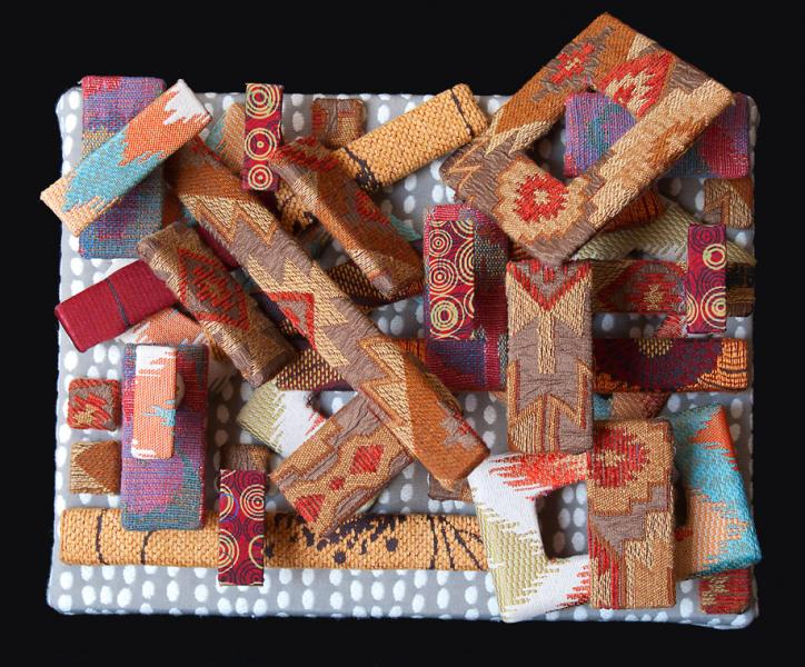 visual art, mixed media, textiles, fabric, 3D,  contemporary, abstract