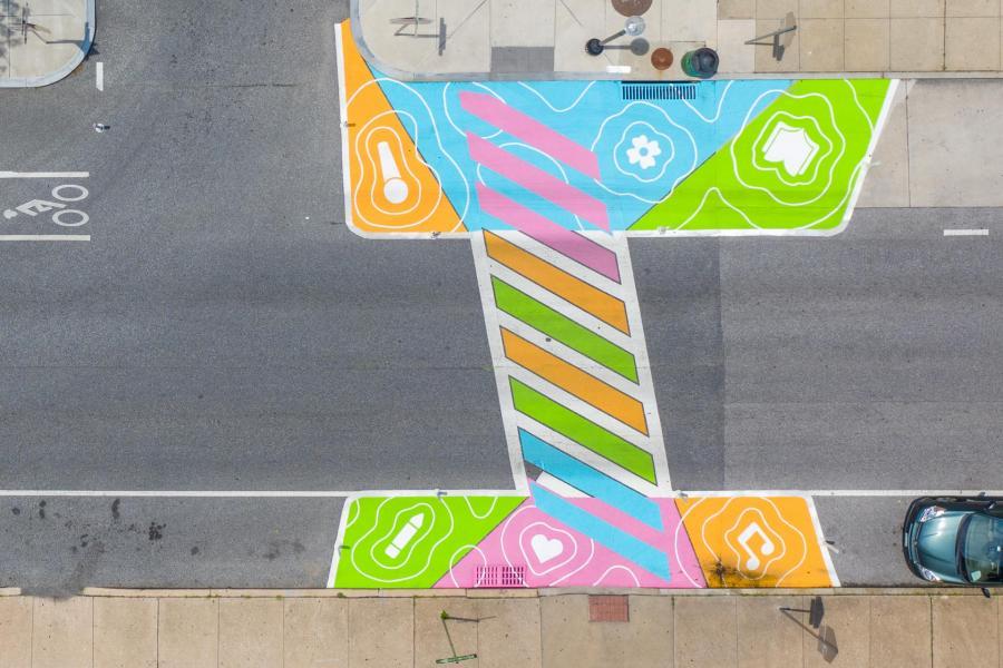 Reverberations Crosswalk 26th St Paul - aerial