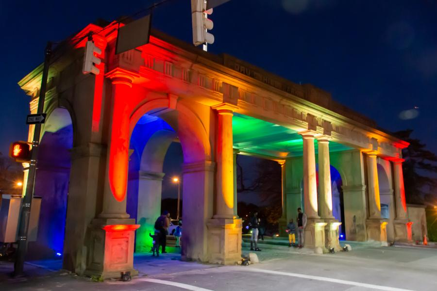 Arches & Access - Druid Hill Park Gate light art