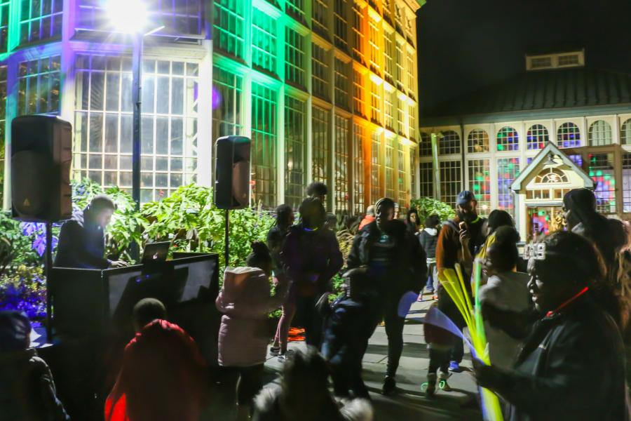 Arches & Access - dance party at Rawlings Conservatory illuminated with light art