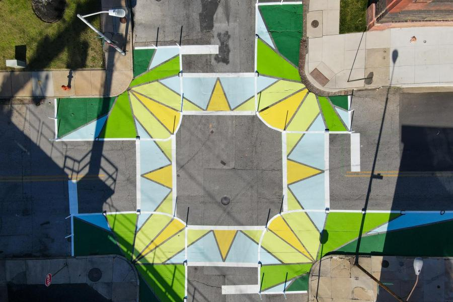 Collington Square Oak Wisdom Crosswalks aerial view