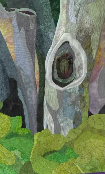 art quilt, trees, green, fabric,