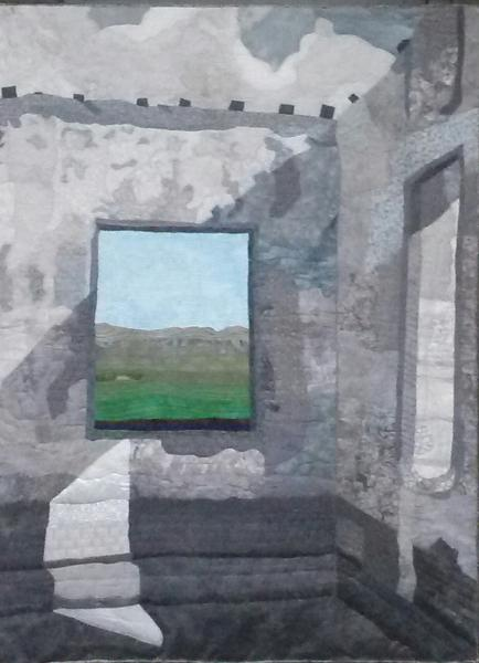art quilt walls, window, grey, ruins, fortress