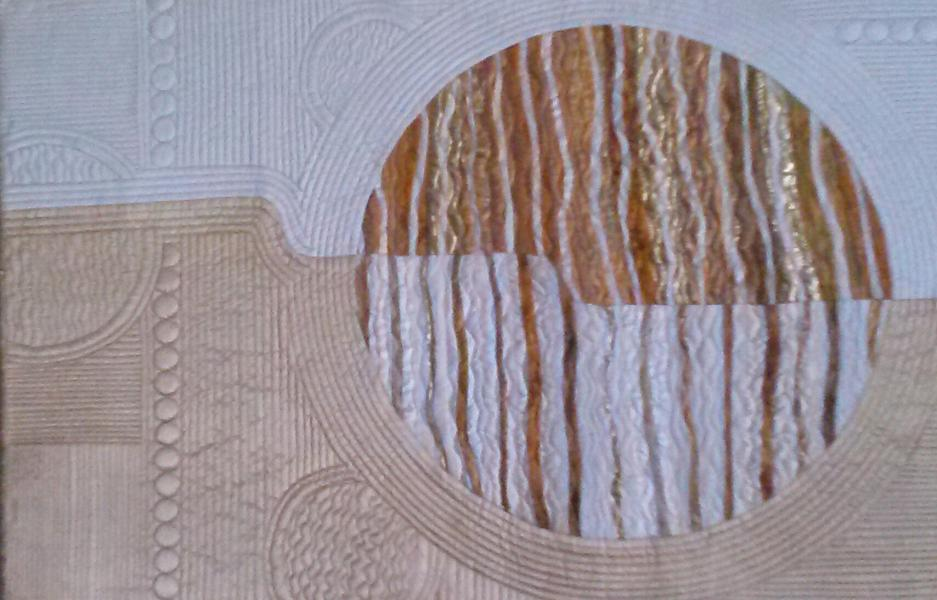 art quilt, quilt, white, gold, circles