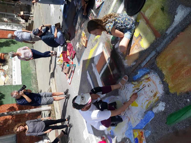 Chalk, pastel, street painting, public art