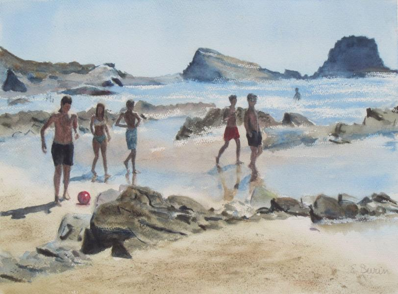 Atlantic Beach, watercolor painting of young people walking on beach, by Elizabeth Burin, Atlantic, Portugal, sand, rocks