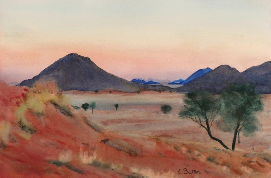 Desert Twilight, watercolor painting of desert landscape by Elizabeth Burin, dunes, sunset