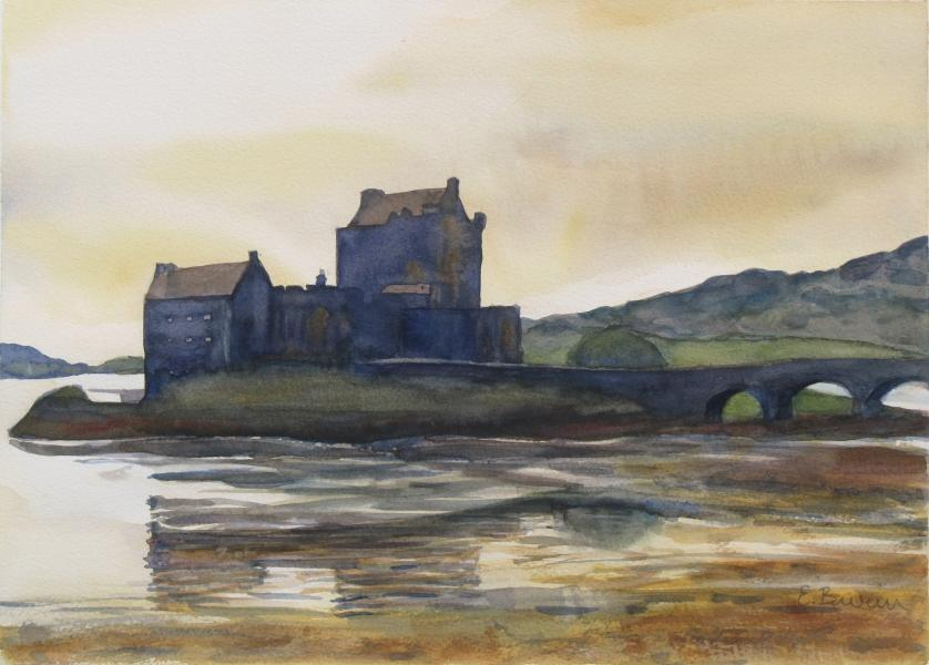 Elean Donan Castle, watercolor painting of Scottish Highland landscape with Elean Donan Castle in lake, by Elizabeth Burin