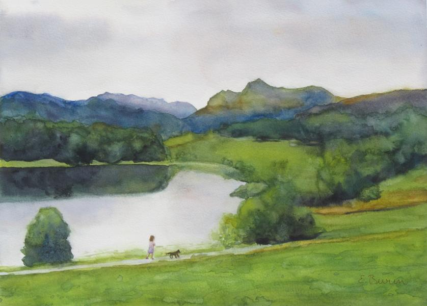Elter Water, watercolor landscape painting by Elizabeth Burin, England, Lake District
