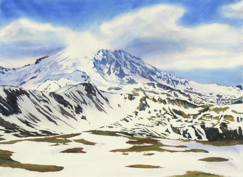 Mt. Rainier, Melting Snow II, watercolor landscape of Mt. Rainier, Washington, under partial snow, by Elizabeth Burin