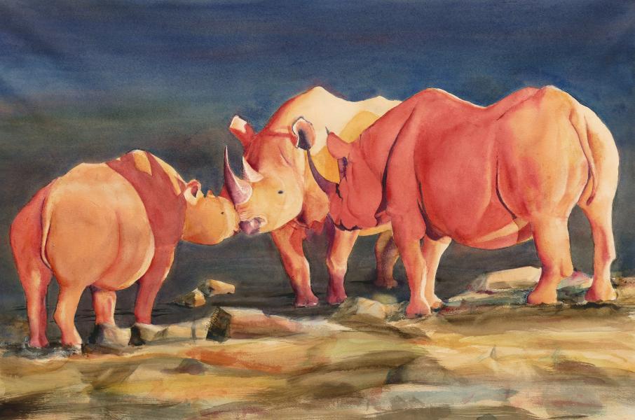 Rhino Love, watercolor painting of three rhinoceroses by Elizabeth Burin