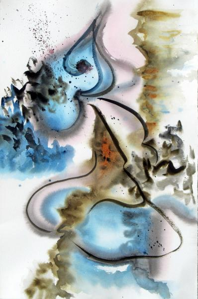 Winter Wind, abstract watercolor painting by Elizabeth Burin