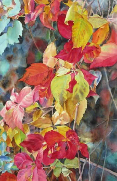 Fall Cascade II, watercolor painting of autumn foliage on vines, by Elizabeth Burin, fall color
