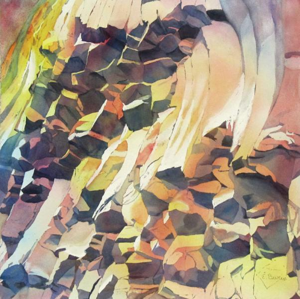 Hot Basalt, watercolor painting of columnar basalt rock face in warm colors, by Elizabeth Burin