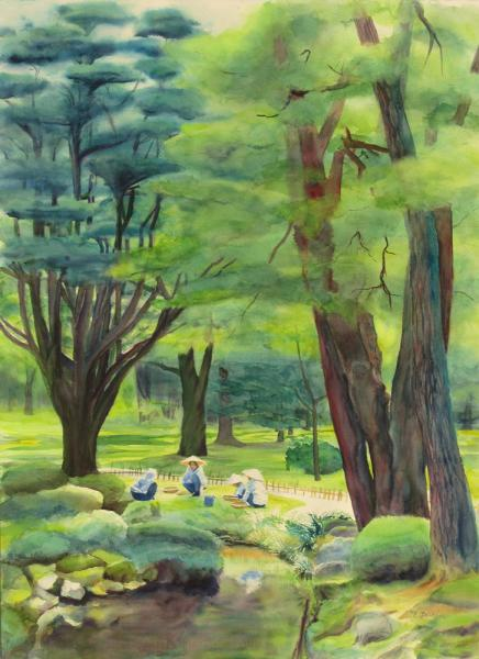 Watercolor painting of Japanese garden with trees, water, women gardeners, by Elizabeth Burin, Kanasawa, Japan