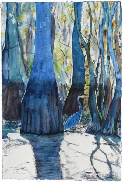Swamp Dweller, watercolor painting of heron in mangrove swamp, by Elizabeth Burin, bird, Louisiana