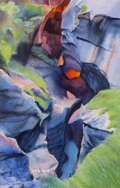 Torchlight in the Gorge I, watercolor painting of illuminated Alpine gorge by Elizabeth Burin, rocks, Truemmelbach, Switzerland