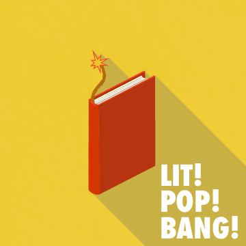 Red cartoon book with a lit fuze coming out of it on a yellow background
