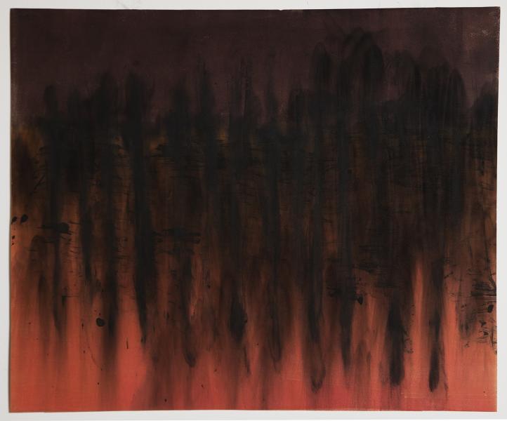 monoprint, akua ink, smoke, soot