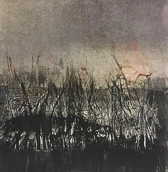 Mono-print. akua ink, smoke, soot